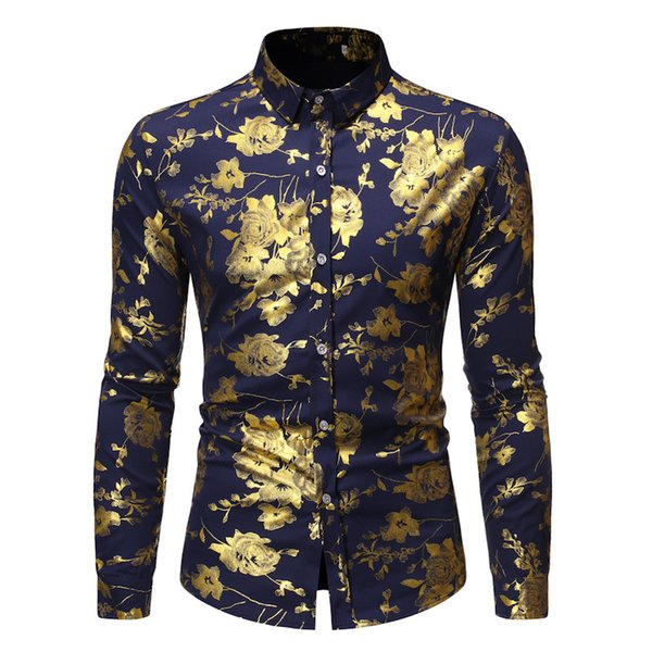luxury golden rose floral print shirt men 2020 autumn new mens slim fit button down dress shirts wedding party prom club shirt