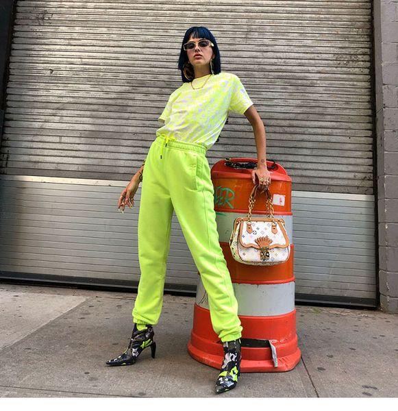 2019 european fashion new women's elastic waist neon color high waist hiphop dancing sports loose pants trousers S M L