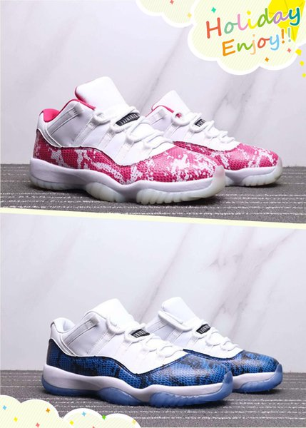 2019 Hot Sale 11 Low Pink Navy Blue Snakeskin Man Women Basketball Shoes 11s White Mens Ladies Sports Trainer With Box