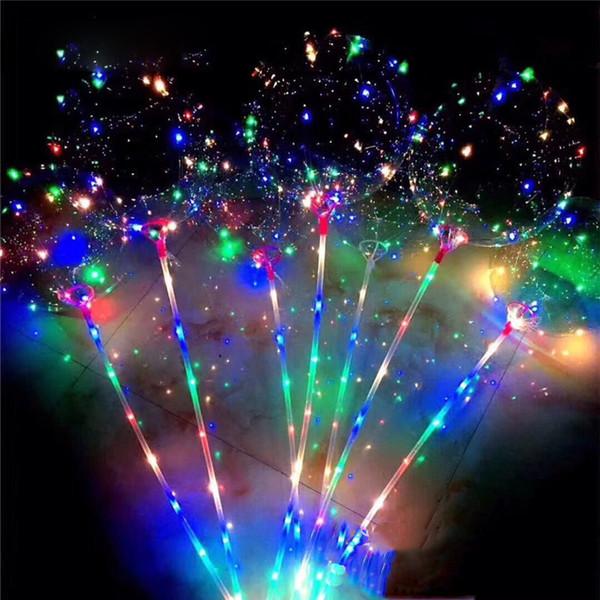LED Flashing Balloon Transparente leuchtende Beleuchtung BOBO Ballons mit 70cm Pol 3M String Balloon Weihnachten Hochzeit Dekorationen
