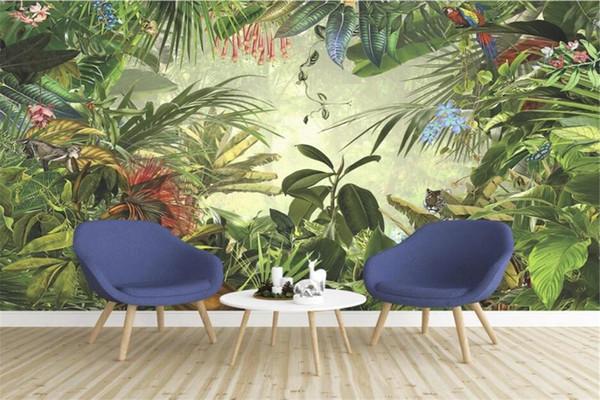 Costumbre pintado retro Europea selva de TV de la pared de plátano loro tigre pintura papel tapiz pintado a mano 3d
