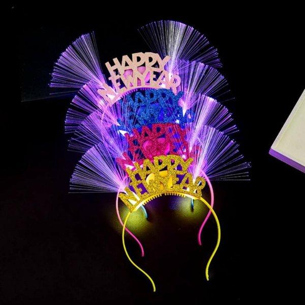Светоизлучающий новогодний обруч / волоконно-оптическая Шпилька HAPPY NEW YEAR Hairpin Hot Land Shop игрушки оптом