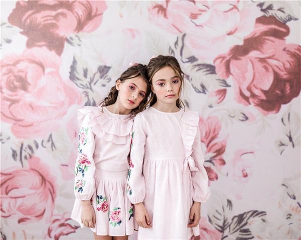 Meninas Ruffles Rosa Bordado Vestido 2019 Crianças Vestidos Para Meninas Menina Outono Floral Princesa Vestido Para 100-140 cm