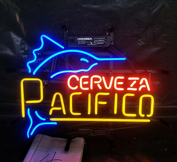 Cerveza Pacifico Letrero de neón Luz Publicidad Bar Entretenimiento Club Decoración Exhibición de arte Lámpara de vidrio real Marco de metal 17 '' 24 '' 30 ''40
