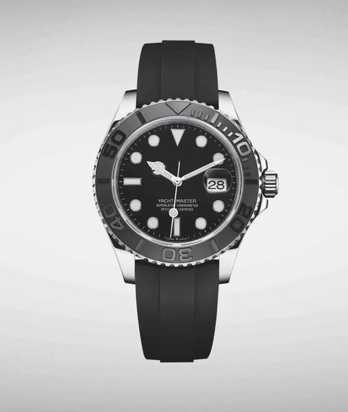 2019 Lüks erkek Dalış İzle 226659 YACHT MASTER tasarımcı saatler Seramik çerçeve 42mm Kauçuk Kayış Otomatik Erkekler Paslanmaz Çelik Kol