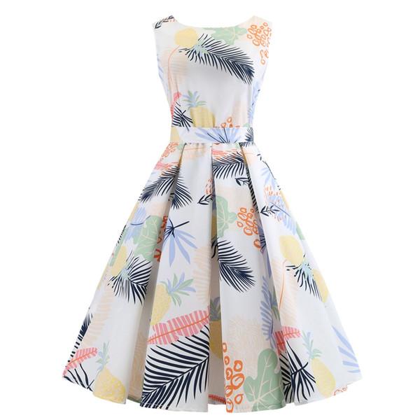 2019 Sıcak Satış Kadınlar Günlük Elbiseler Orta Uzunlukta A-Line Gilrs için Yaz Etek Parti Elbiseler Ekose / Baskı Çiçekler Bağbozumu Etekler Uzun D02