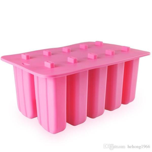 Cubos de gelo molde com tampa Dê Madeira Varas Tasteless Silicone Eco-friendly 10 Grade congelado picolé Mold não 35ty Toxic I ff