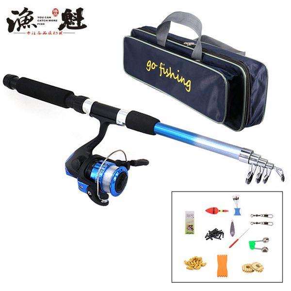 YUKUI Fishing Rod Reel Combo Full Kit 1.8m Fishing Rod Spinning Reel Set with Hooks Lures Barrel Swivels Storage Bag