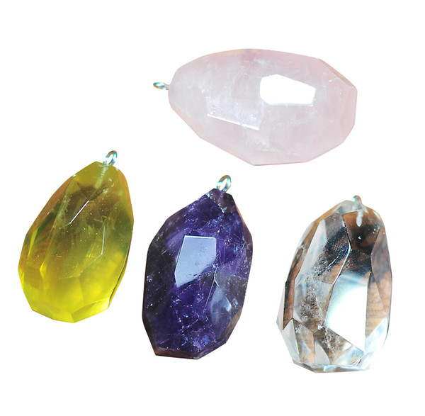 Natural Raw Rock Crystal Pendant Necklace Faceted Amethyst Rose Quartz Women Jewelry