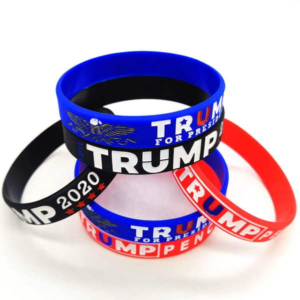 top popular Trump Silicone Wristband 3 Colors Donald Trump Vote Rubber Support Bracelets Make America Great Bangles Party Favor 1200pcs OOA8159 2020