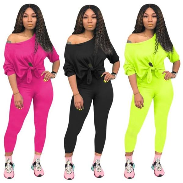 mulheres designer de treino de manga curta camisa roupas calças duas peças calças definir magras camisa collants esporte terno pullover klw1700 quente