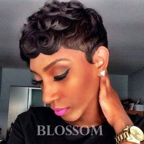 Short Pixie Cut Wigs For Black Women Human