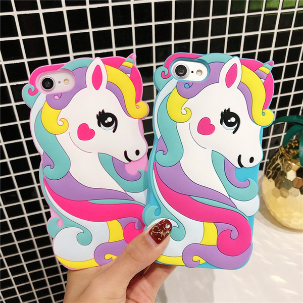 Vivid 3D Cartoon Cute Unicorn Case For iPhone XR XS Max Soft Silicone Rubber Animals Character Protective Case For iPhone 5 6 7 8 Touch 5/6