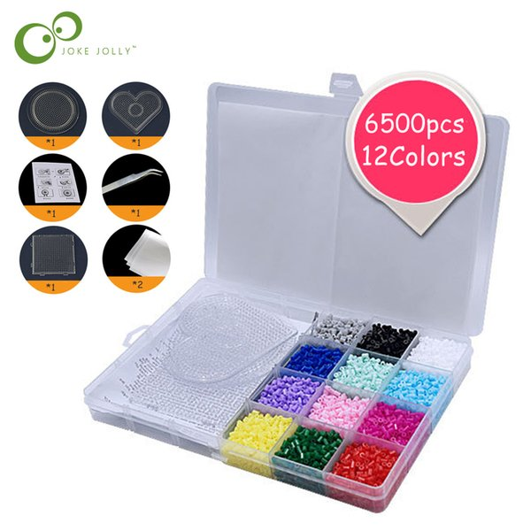 6500pcs perler Toys 2.6mm 12colors hama educational Kids diy toys beads Puzzle with pegboard ironing paper tweezer GYH 6500pcs perler beads