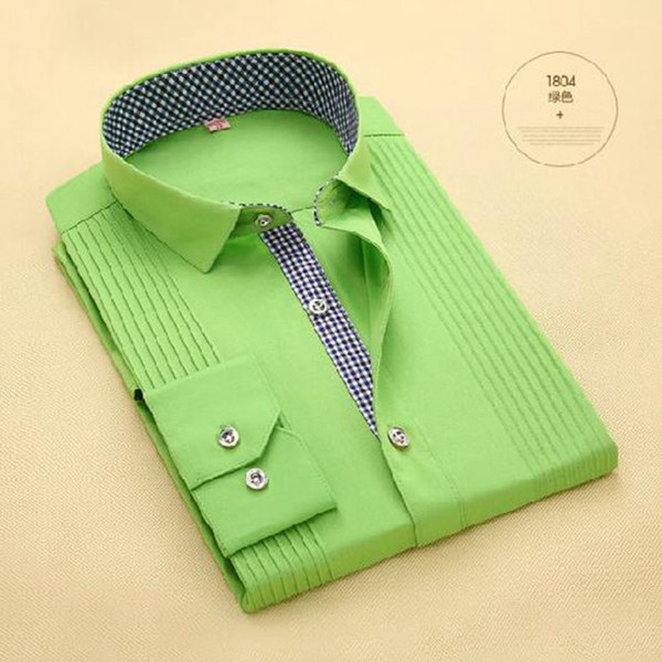 Tuxedo High-grade Dress Shirts Fashion Men Long Sleeve Candy Solid Color Shirts Vestido,Breathable Comfortable Bow Tied