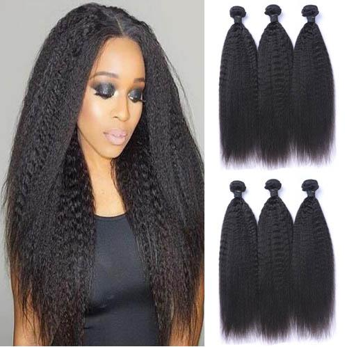 3 Bundles New Kinky Straight 100% Remy Human Hair Weavons Yaki Striaght Black Natural Color Can Be Bleached &Restyled With Free Shipping
