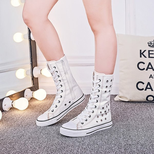 35-43 canvas women fashion high-breathable hollow flat boots long-barreled casual flats boots height increasing shoes ma-82