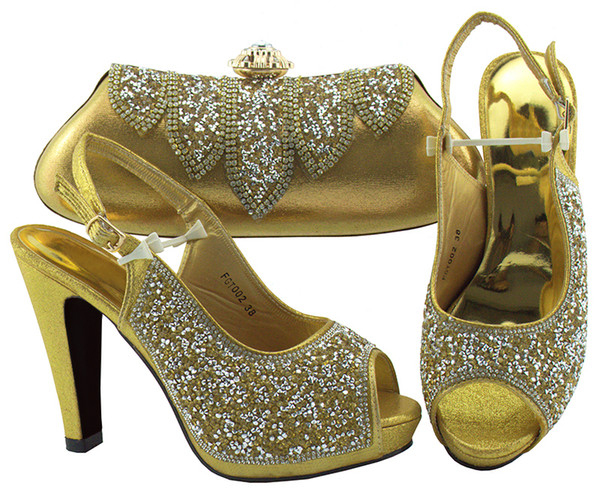 Gold Fashion Italian Shoes With Matching Clutch Bag Hot African Big Wedding With High Heel shoes and Bag Set FGT002