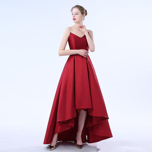 2018 sevgiliye hi lo kırmızı gelinlik modelleri ile özel online çay boyu kabarık etek benzersiz özel durum parti törenlerinde pileli örgün