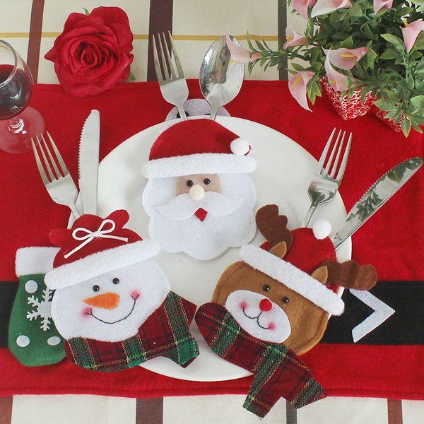 4pcs porte-coutellerie poche fourchette couteau couteau vaisselle vaisselle sac pochette père noël bonhomme de neige noël décor de noël décoration de table