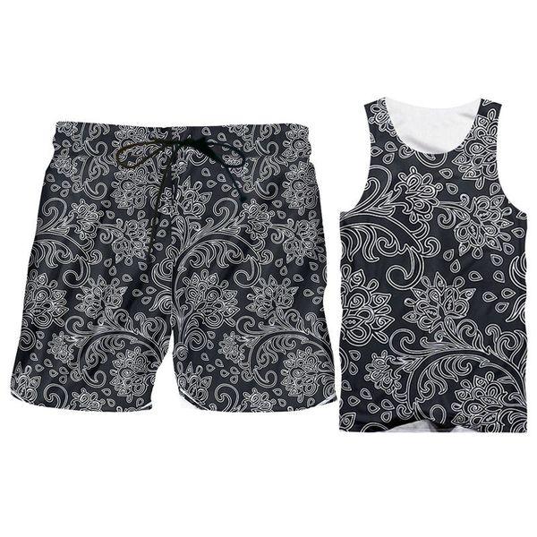 Novelty 3d Tank Tops Shorts Sets Men Sleeveless Retro Floral Print Hoodie Vest Shirts Shorts Sets Custom Sportsuit Plus Size 6XL