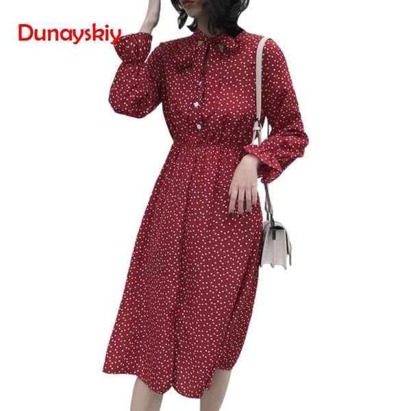851e54f842b Elegant Stand Collar Polka Dot Chiffon Dress Flare Sleeve Side Split Female  Dress 2019 Spring Women