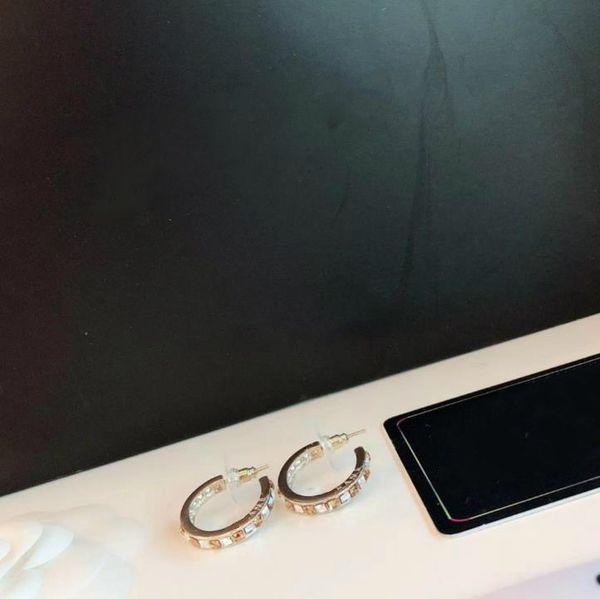 Luxus COCO CRUSH Schmuck Creolen 925 Sterling Silber Nadel Quadrat Bohrer zwei Farben Ohrbügel Ohr Nagel Designer CC Ohrringe Geschenk