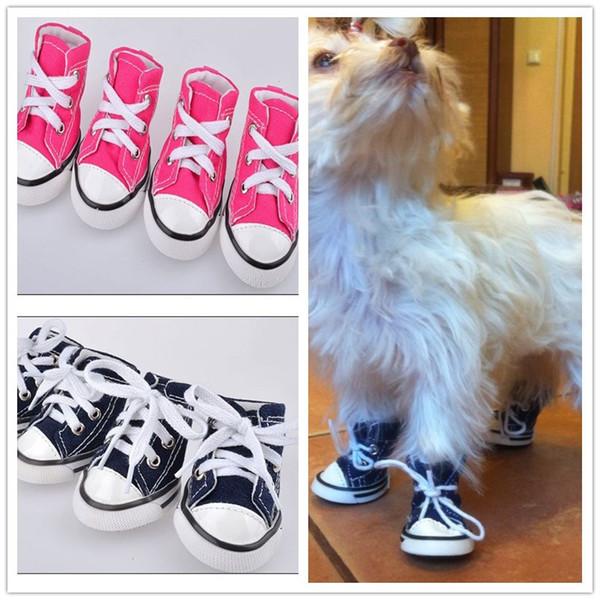 E55 4pcs/lot Pet dog canvas shoes Dog Pet Shoes Pet plimsolls dog sneakers free shipping