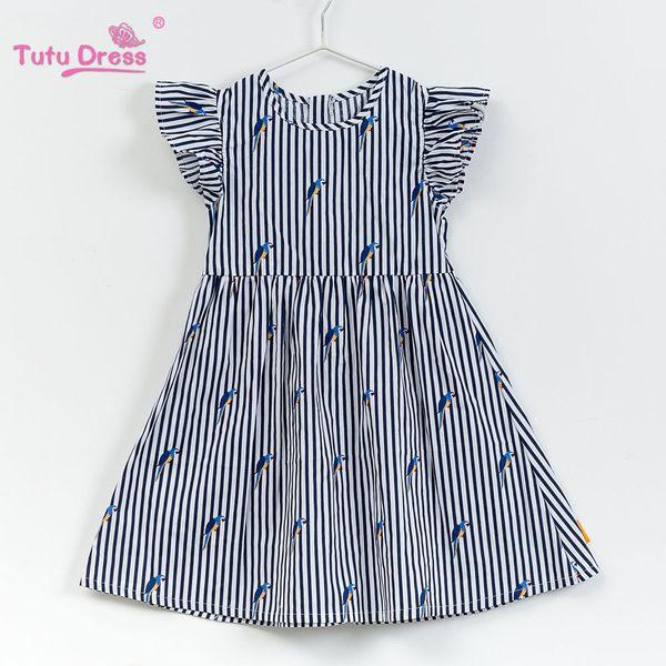 2018 Baby Girl Dress Navy Style Stripe Floral Print Princess Dresses For Designer Formal Party Dress Kids Summer Clothes MX190724