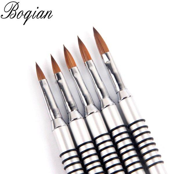 Nail ES BQAN 100% Kolinsky # 2 # 3 # 4 # 5 # 6 # 8 1 Шт. Жхвет для ногтей Акриловое Колинско-Sable Щетка 3D покраска ручка рисунок кисти