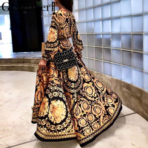 Großhandel vintage split christmas dress frauen winter elegant print maxi dress langarm herbst lose partei boho sexy dress robe
