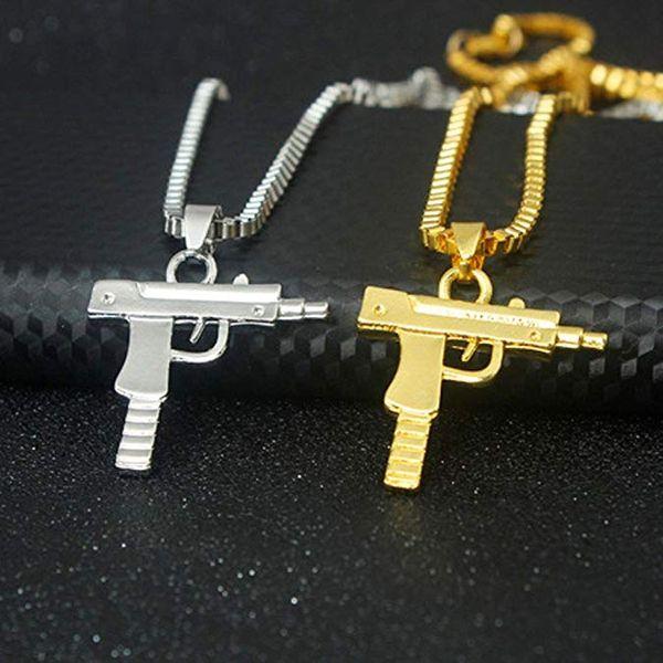 201909 Высокого качество Мужчина Позолоченного Machine Gun Подвеска Hip Hop ожерелье Длинных цепей Pistol ожерелье женщина партия способ подарок ювелирных изделия M629F