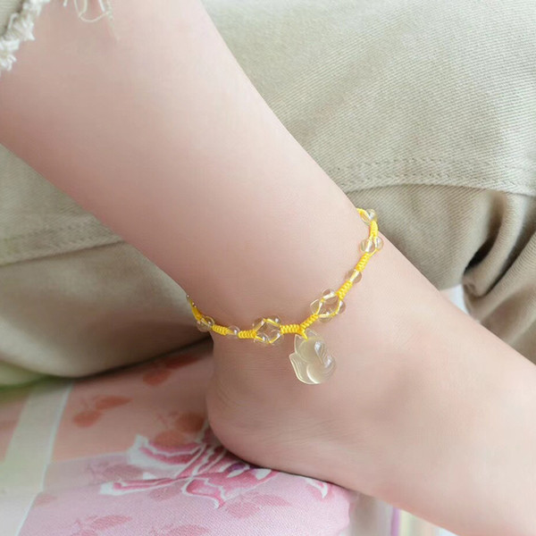 Wholesale Yellow Crystal Engraving Fox Anklets Manual Weaving Crystal Fox Summer Anklet For Women Girl Gift Fashion Jewelry