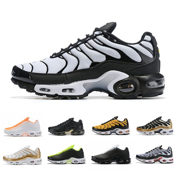 Venta caliente Gold TN plus Men Running Shoes Green Triple Negro Amarillo Entrenamiento al aire libre Deportes para hombre Entrenadores al aire libre Zapatos Zapatillas de deporte 40-46