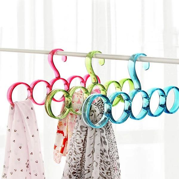Five hole contracted scarf silk tie rack dazzle colour rings scarf multi-purpose hanger mounts