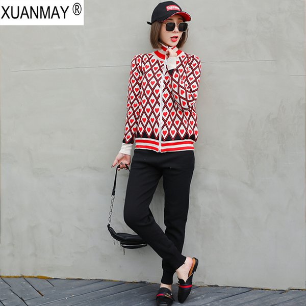 Spring zipper Cardigan sweater and Trousers up and down Two-piece casual Sweet Maiden long-sleeved Cardigan top Pants suit coat