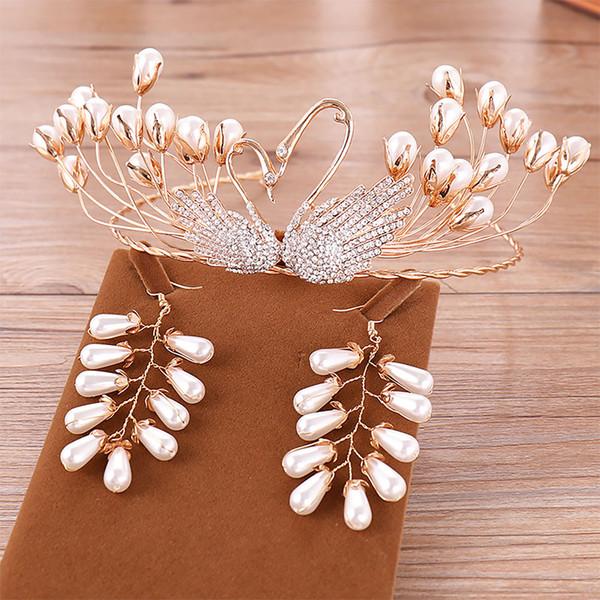 Vintage Gold Swan Perle Handgemachte Braut Diadem Kopfschmuck Tiara und Kronen Ohrring Set Frauen Hochzeit Haarschmuck Zubehör VL