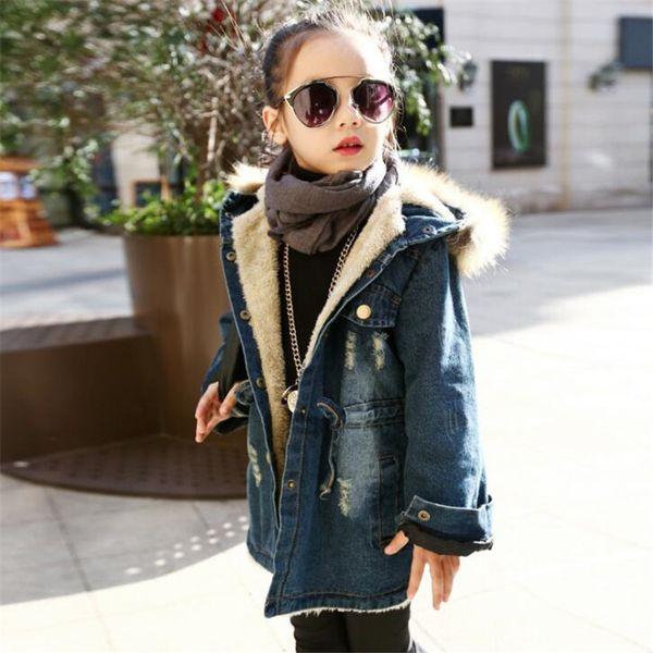 Yeni Marka 2017 Çocuk Kış Ceket Kaban Kız Moda Artı Kalın Kadife Pamuk Kürk Dış Giyim Kapşonlu Jeans Sıcak Giysiler Sıcak