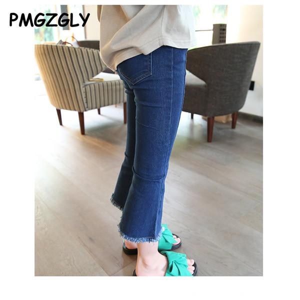 Bébé fille jean nouveau printemps 2017 enfants printemps et à l'automne dessin animé pantalon trou filles jeans pantalons mode nouveau pantalon boot cut design