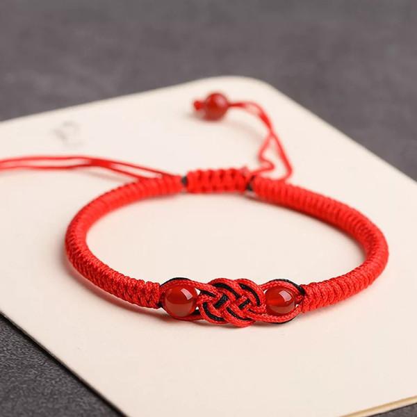design intemporel db76b 187ca Acheter Tibétain Bouddhiste Fait À La Main Konts Rouge Corde Bracelet Porte  Bonheur Bracelet Bracelets Bijoux Pour Femmes Hommes Amulette Bijoux De ...