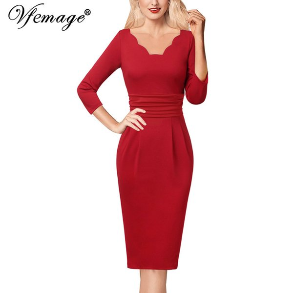 Vfemage Womens Elegant Scallop V Neck Ruched 3/4 Sleeves Slim Work Business Office Party Stretch Bodycon Pencil Sheath Dress 946 Y190427