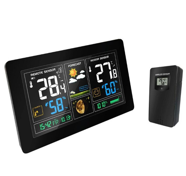 Wireless Weather Station Temperature Humidity Sensor Colorful LCD Display Weather Forecast Snooze alarm clock Radio contraol Time