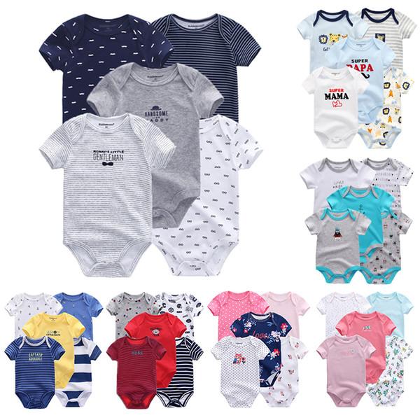 5 Pcs/lot Uniesx Newborn Rompers 100%cotton Clothing Set Roupas De Bebe Baby Boy Girl Clothes Q190518