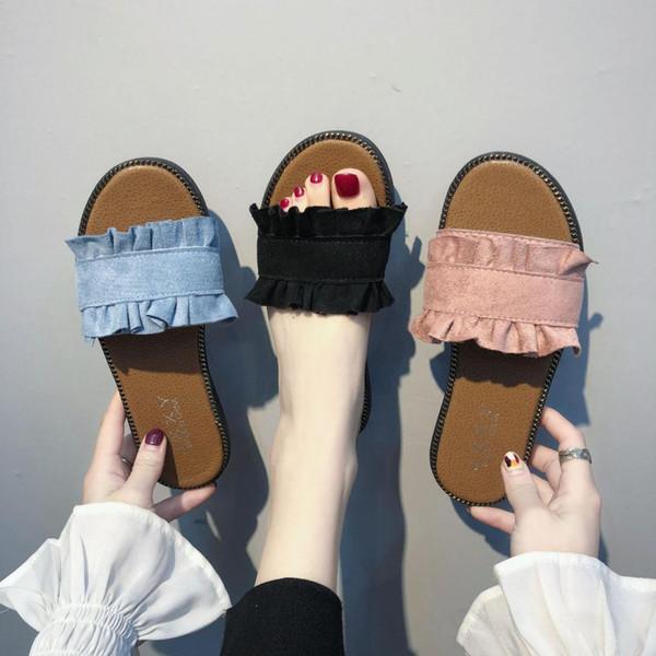 Ruffles Slippers Vintage Flats Summer Gladiator Slides Platform Shoes Woman Slip On Casual Women Shoes hjm89