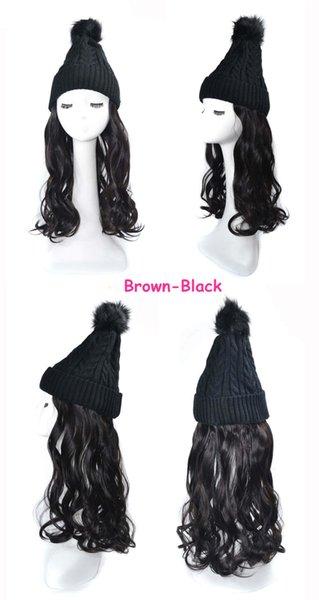Negro parduzco peluca de pelo de la onda negro