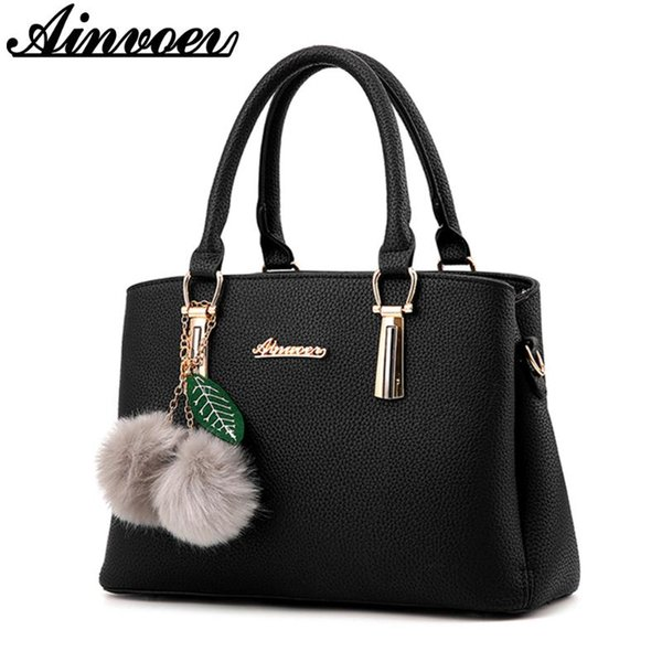 ainvoev bags fashion female handbag fur ball shoulder bag large capacity clutch messenger bag a1833