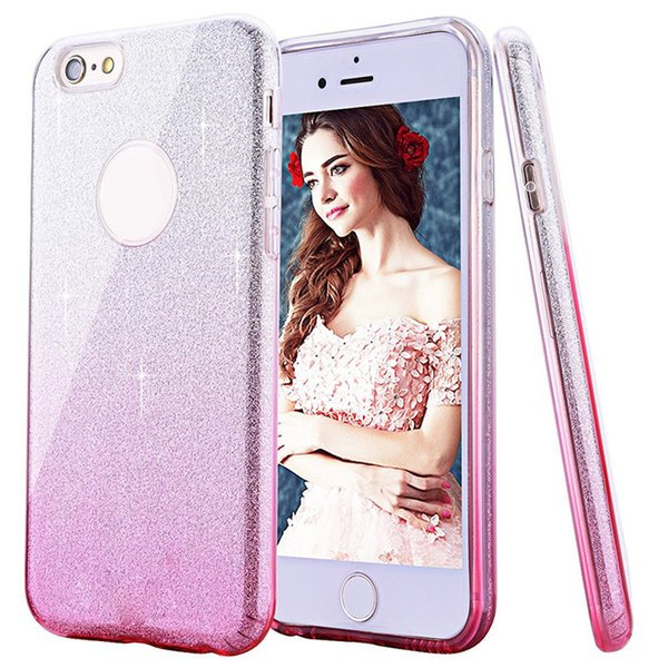 Fashion Gradual Change Color Glitter Ultra Thin Case TPU Soft Defender Cases Cover For iPhone X 8 7 6S Plus Sumsung S9 S8 S7 Plus Edge J7