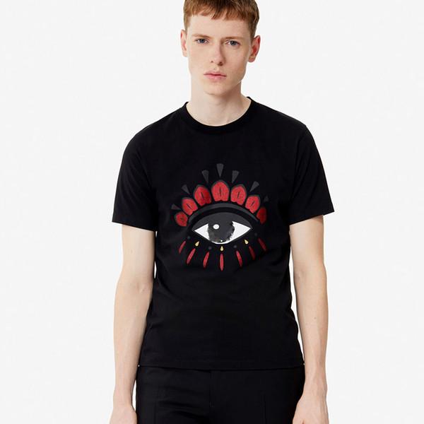 Yüksek Kaliteli kaplan Kafası t-shirt adam lüks giyim moda üst tee marka kısa kollu Yaz beyaz mavi kırmızı Punk göz tasarımcı t shirt S-2XL