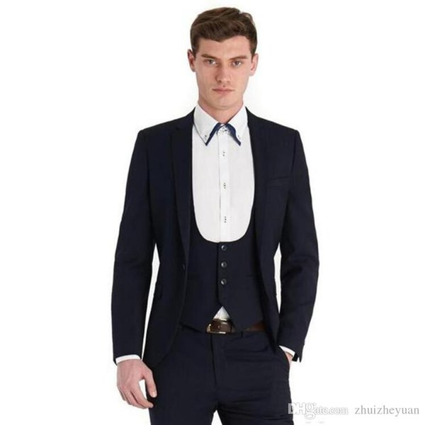 Dark Navy Groom Tuxedos Notch Lapel Groomsmen Suit Mens Wedding Tuxedos Prom Party Suits Custom Made (Jacket+Pants+Vest)