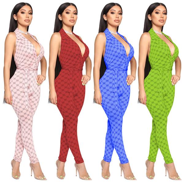 Женщины с длинным рукавом сексуальные v-образным вырезом спинки комбинезоны комбинезон цельный комбинезон брюки новые горячие продажи осень тощий женский принт одежда klw2170